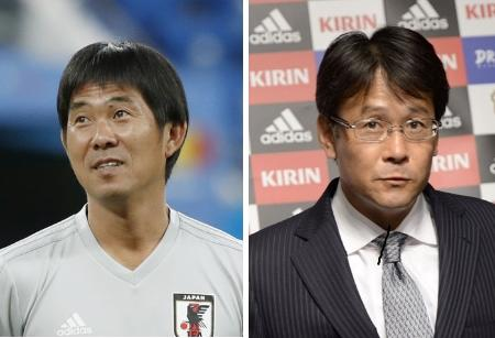 東京五輪男子代表の森保一監督(左)、日本サッカー協会の関塚隆技術委員長