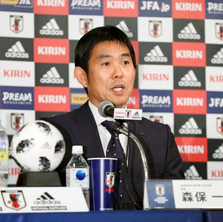 サッカー日本代表監督への就任が決まり、記者会見する森保一氏=26日午後、東京都港区
