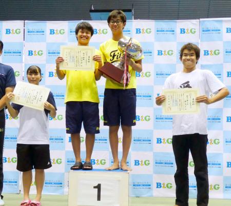 「全国ジュニア水泳競技大会」の男女総合で優勝し、ポーズをとる山梨県チームの2選手(中央)。左は2位埼玉県、右は3位群馬県の各選手=18日午後、東京辰巳国際水泳場