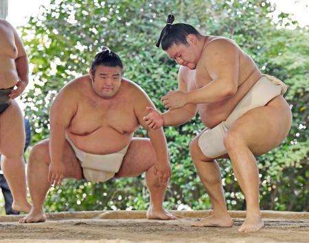 千賀ノ浦部屋の朝稽古で汗を流す貴ノ岩(右)と貴景勝=30日、福岡県篠栗町