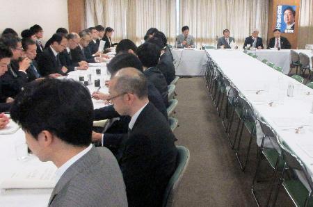 サマータイム導入について議論する自民党の研究会の会合=31日正午ごろ、東京・永田町の党本部