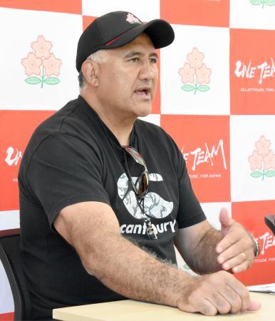 記者会見するラグビー日本代表のジョセフ・ヘッドコーチ=1日、東京都内