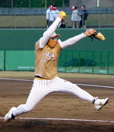 米国との決勝に先発した藤田=高崎市城南野球場