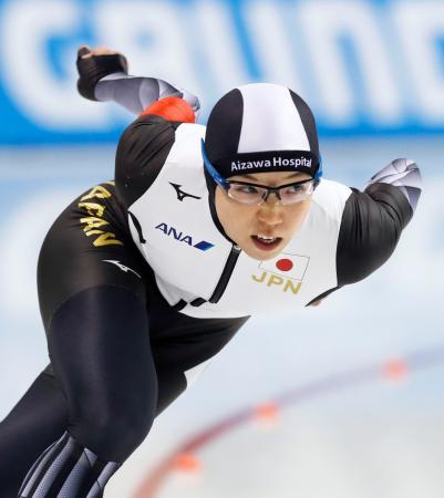 女子500メートル 優勝した小平奈緒=明治北海道十勝オーバル