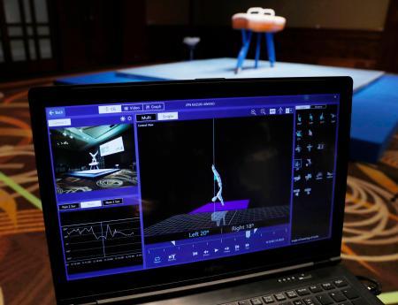 国際体操連盟が富士通と共同で開発している採点支援システムの画面=20日午後、東京都内のホテル