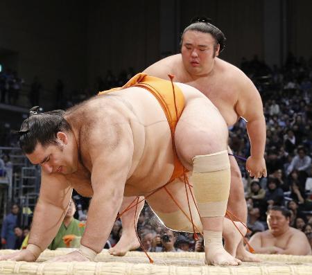 九州場所6日目、貴景勝に突き落としで敗れた魁聖=福岡国際センター