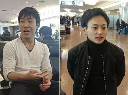 羽田空港に帰国し取材に応じる宮地秀享(左)と米倉英信=27日