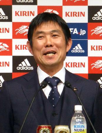 サッカー日本代表の活動日程を発表し、意気込みを語る森保監督=11日、東京都内