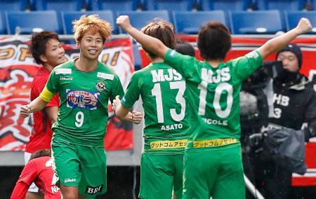 日テレ―浦和 前半、先制ゴールを決め喜ぶ日テレ・田中美(9)=パナスタ