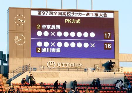 大会史上最長となった、帝京長岡―旭川実のPK戦結果を表示するスコアボード=NACK5