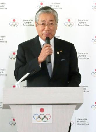 仕事始めであいさつするJOCの竹田恒和会長=7日、東京都渋谷区