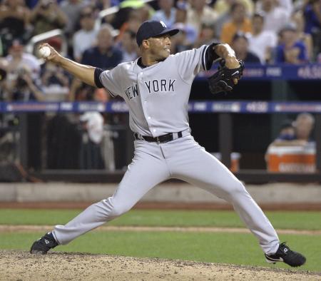 ヤンキース時代のリベラ氏=2013年7月、ニューヨーク(共同)