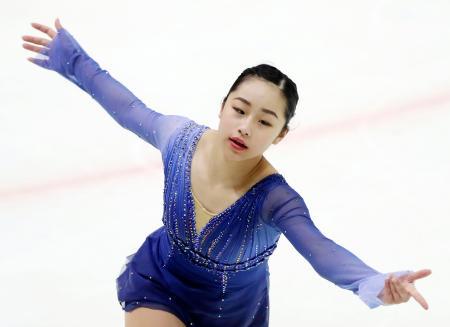 フィギュア少年女子 優勝した愛知・山下真瑚のフリー=釧路市春採アイスアリーナ