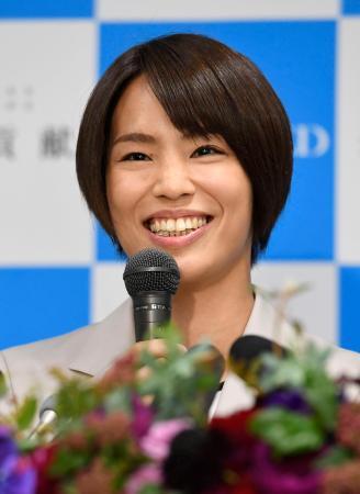 現役引退の記者会見をする柔道女子の松本薫さん=7日午後、東京都渋谷区