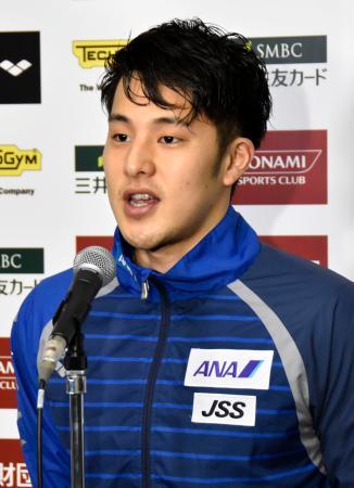 競泳のコナミオープンの前日練習後、取材に応じる瀬戸大也=15日、千葉県国際総合水泳場