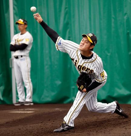 佐々木主浩氏から指導を受け、投球練習する阪神・望月。左は矢野監督=宜野座