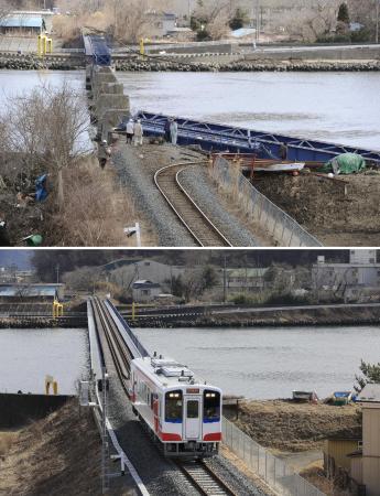 2011年3月12日(上)と今年2月11日のJR山田線。津波で破壊された線路と橋は修復された。不通となっていた宮古―釜石間は、3月23日に三陸鉄道へと移管され、接続する同社の路線と合わせて「リアス線」として開通する=岩手県宮古市