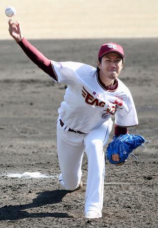阪神戦に先発し、5回2安打1失点と好投した楽天・岸=倉敷