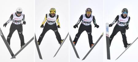 男子団体で2位に入った日本チーム。(左から)佐藤幸椰、葛西紀明、小林潤志郎、小林陵侑=オスロ(共同)