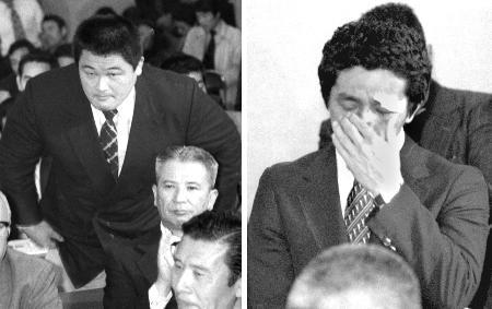 1980年4月、モスクワ五輪ボイコット問題で、参加を訴える柔道の山下泰裕選手(左)、レスリング高田裕司選手=東京・岸記念体育会館