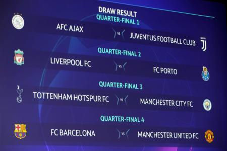 抽選で決まった欧州チャンピオンズリーグ(CL)準々決勝の組み合わせ=15日、ニヨン(AP=共同)
