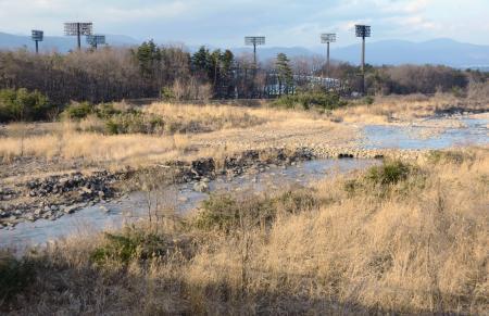 福島県営あづま球場(奥)の南側に広がる河川敷=1日、福島市