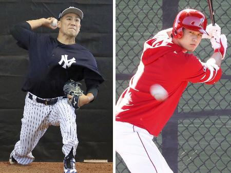 投球練習するヤンキースの田中=22日、打席で投球に目を慣らすエンゼルスの大谷=5日(いずれも共同)