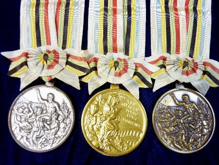 秩父宮記念スポーツ博物館が所蔵する1964年開催の東京オリンピックの金銀銅メダル