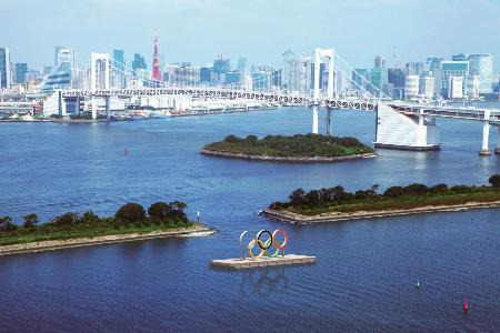 東京・お台場に設置される五輪マークのモニュメントのイメージ(CG合成・東京都提供)