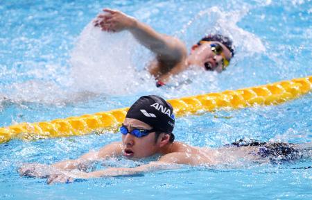 公式練習で調整する瀬戸大也(下)=東京辰巳国際水泳場