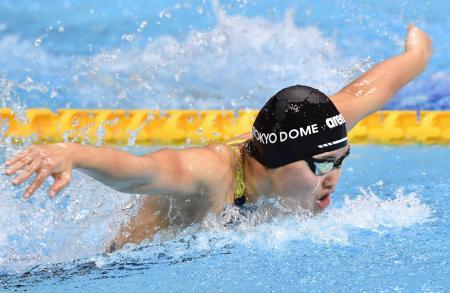 女子200メートルバタフライを2分7秒44で制した長谷川涼香=東京辰巳国際水泳場