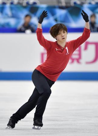 フィギュアスケートの世界国別対抗戦に向け、調整する宇野昌磨=マリンメッセ福岡