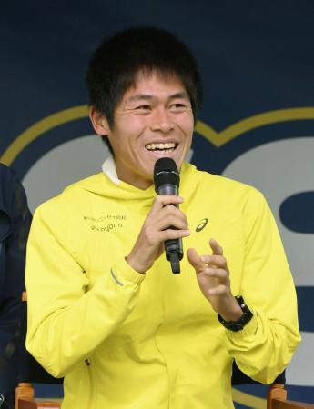 ボストン・マラソンを前に、トークイベントに参加した川内優輝=14日、ボストン(共同)