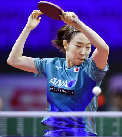 女子シングルス2回戦で勝利した石川佳純=ブダペスト(共同)
