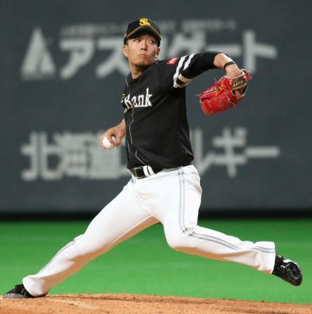 日本ハム戦に先発し、7回1失点で2勝目を挙げたソフトバンク・千賀=札幌ドーム