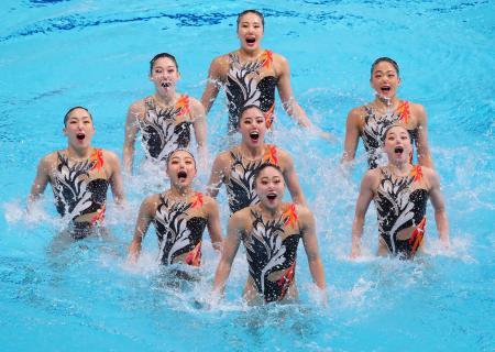 チーム・テクニカルルーティン 日本の演技=東京辰巳国際水泳場