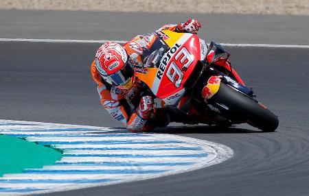 オートバイのスペインGP、地元スペインで今季2勝目を挙げたホンダのマルク・マルケス=5日、ヘレスデラフロンテラ(ロイター=共同)