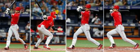 レイズ戦でサイクル安打を達成したエンゼルス・大谷。(右から)1回の左中間3点本塁打、3回の左中間二塁打、5回の右翼線三塁打、7回の中前打=セントピーターズバーグ(共同)