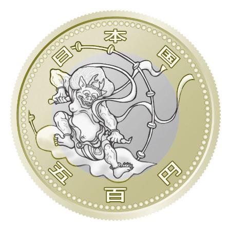 「風神雷神図屏風」の五輪記念硬貨の表面のイメージ