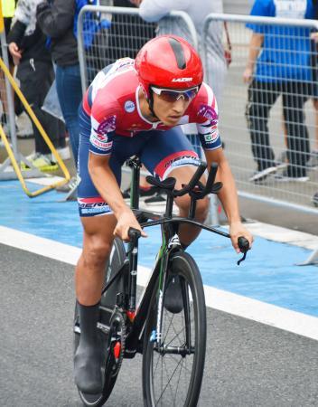 個人タイムトライアル・ロードレース男子で優勝した増田成幸=富士スピードウェイ