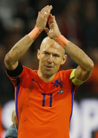 元オランダ代表のロッベン=アムステルダム(AP=共同)