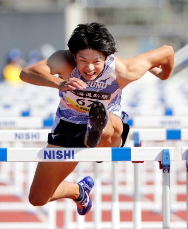 男子110メートル障害決勝 13秒44(追い風参考)で2位の金井大旺=札幌厚別公園競技場