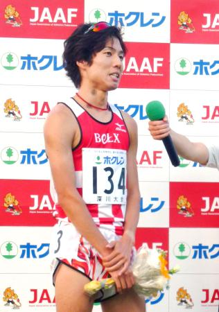 ホクレン中長距離チャレンジ第2戦の男子1500メートルで、日本歴代2位の記録で優勝した戸田雅稀=北海道深川市