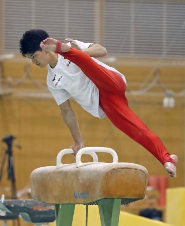 世界選手権に向けた合宿で調整する谷川翔=味の素ナショナルトレーニングセンター