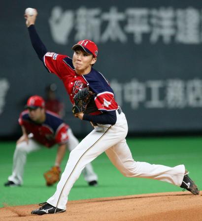 ロッテ戦に先発し、6回無失点で3勝目を挙げた日本ハム・浦野=札幌ドーム