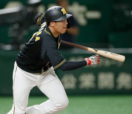 11回阪神2死三塁、大山が中前に決勝打を放つ=東京ドーム