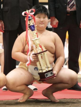 わんぱく相撲全国大会の5年生の部で準優勝した田宮愛喜君=4日、東京都墨田区