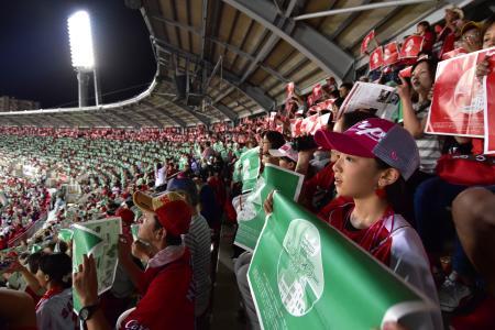 「ピースナイター2019」で、赤いポスターや緑色の新聞を掲げる観客=6日、マツダスタジアム