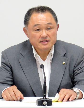 JOC理事会後に記者会見する山下泰裕会長=8日、東京都新宿区