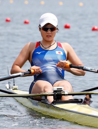 女子シングルスカル順位決定戦 15位の上野美歩=海の森水上競技場